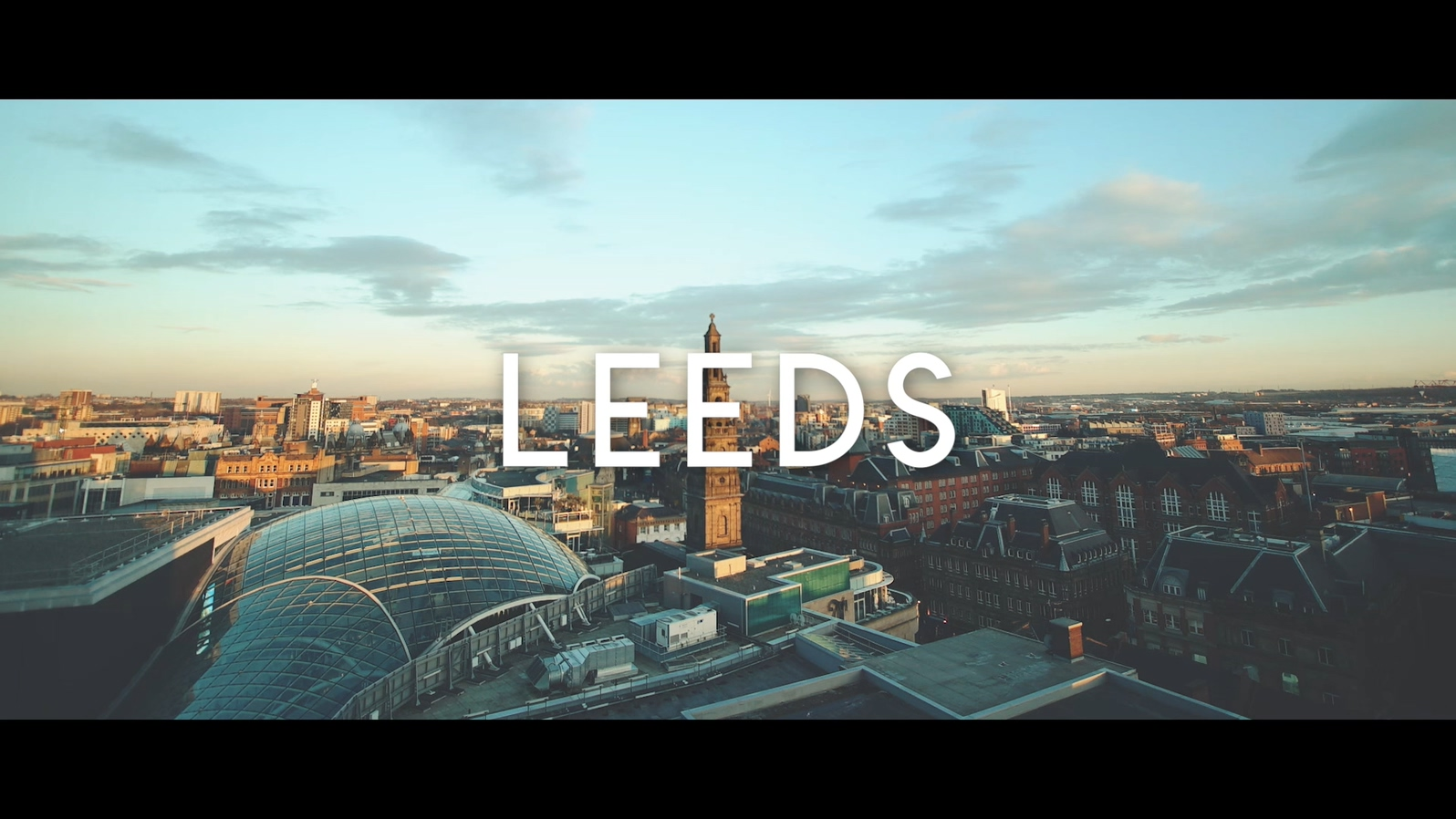 aerial shot of Leeds in the evening